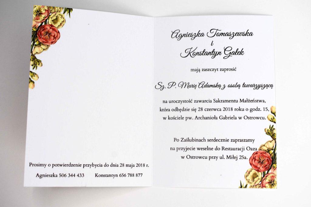 tekst w zaproszeniu ślubnym