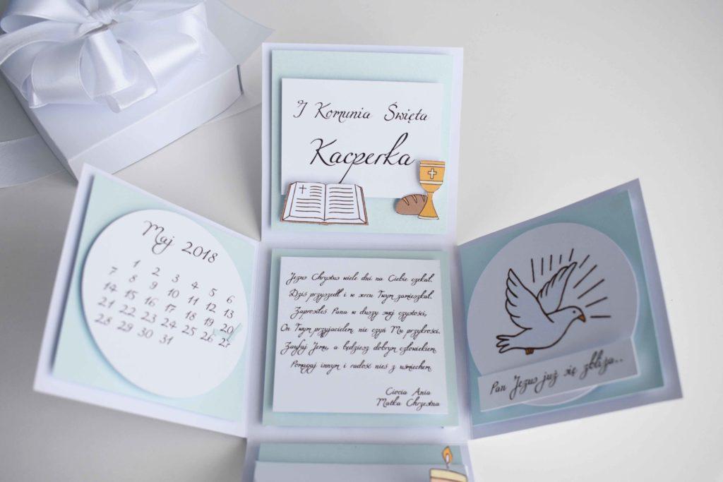 komunijne pudełeczko z życzeniami