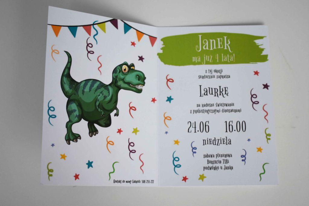 Tekst zaproszenia urodzinowego z dinozaurem terranozaurem