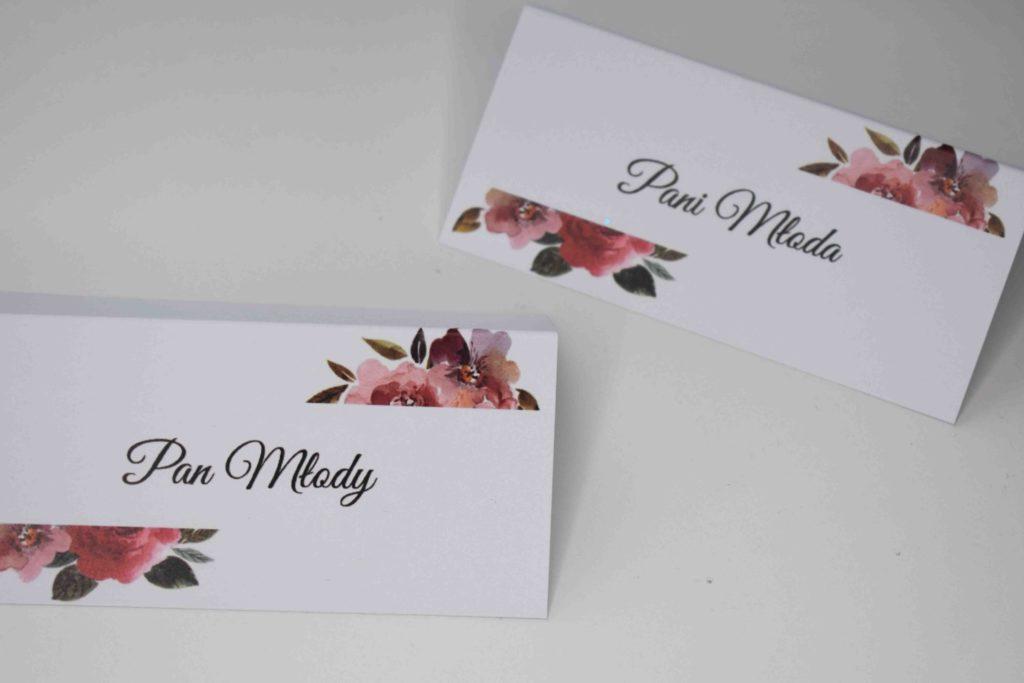 winietki na ślub z kwiatami