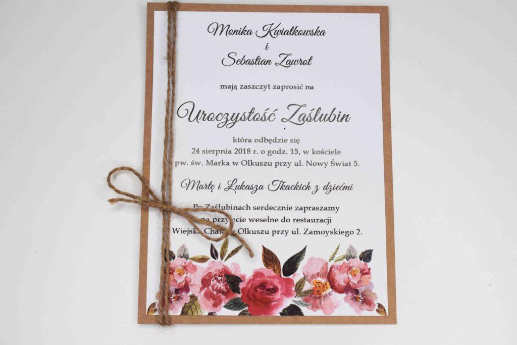 zaproszenie ślubne bordo kwiat