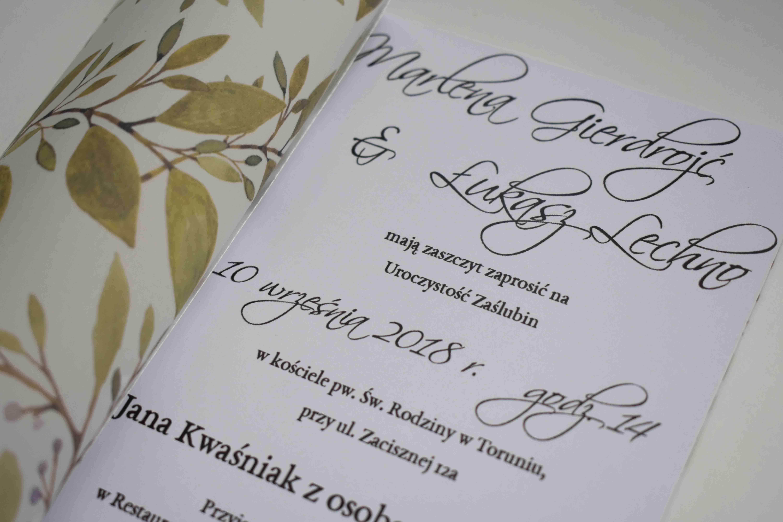 zaproszenie ślubne z kalka