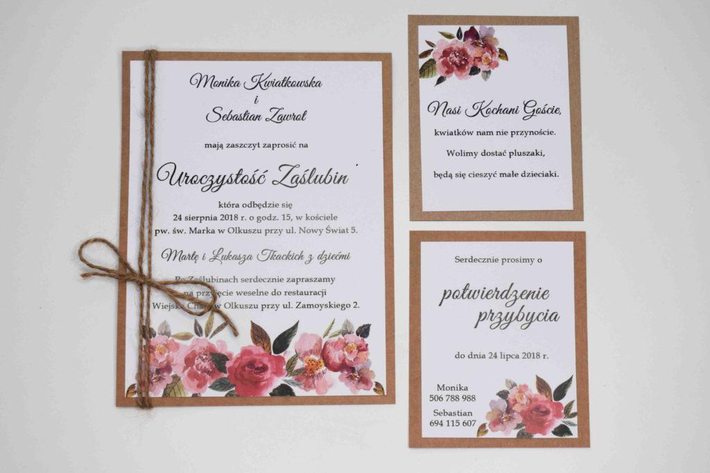 kwiaty i eko zaproszenie ślubne