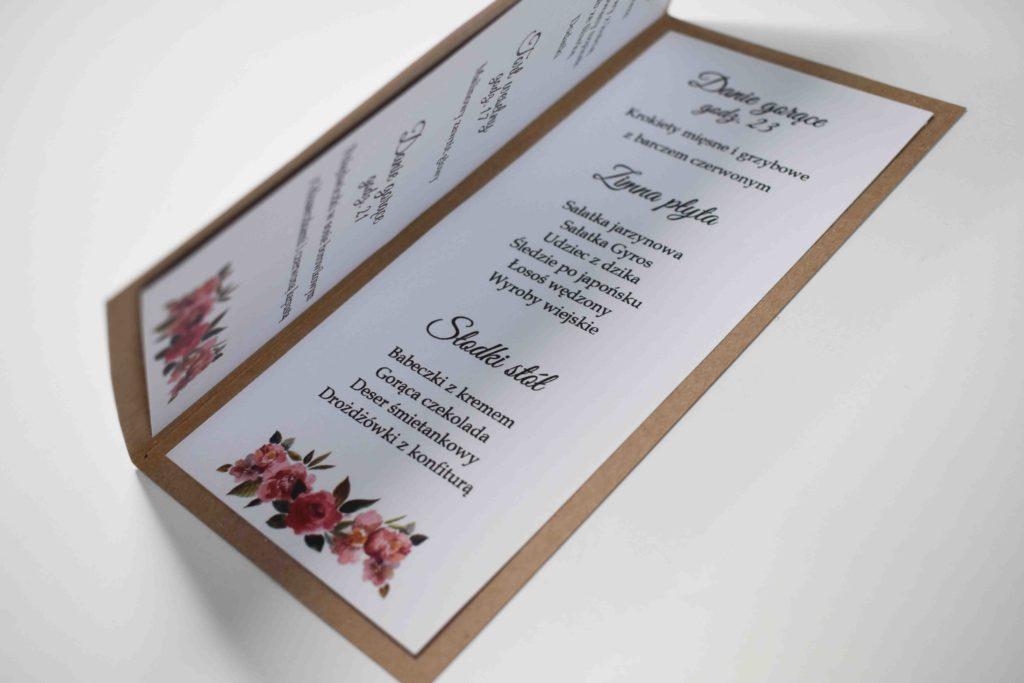 menu na ślub z kwiatem