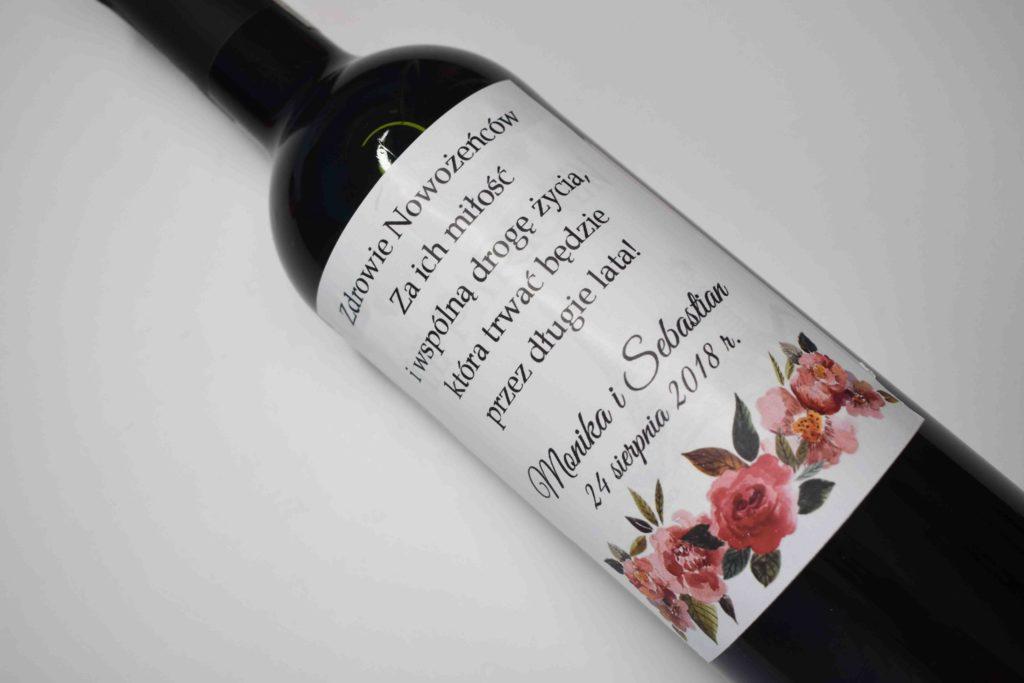naklejka na wino weselne