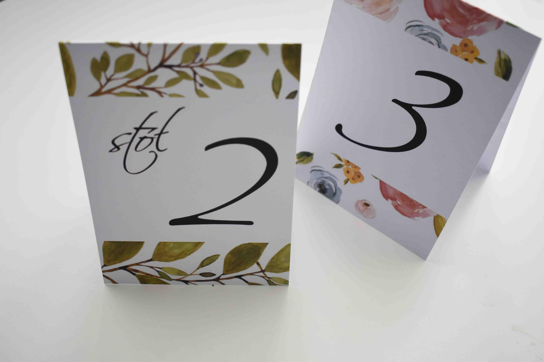 numery stołów na ślub