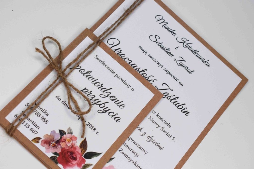zaproszenie ślubne w stylu eko
