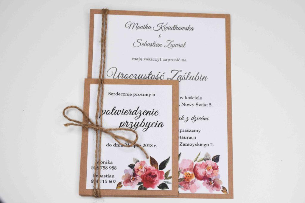 zaproszenie na ślub z bilecikami