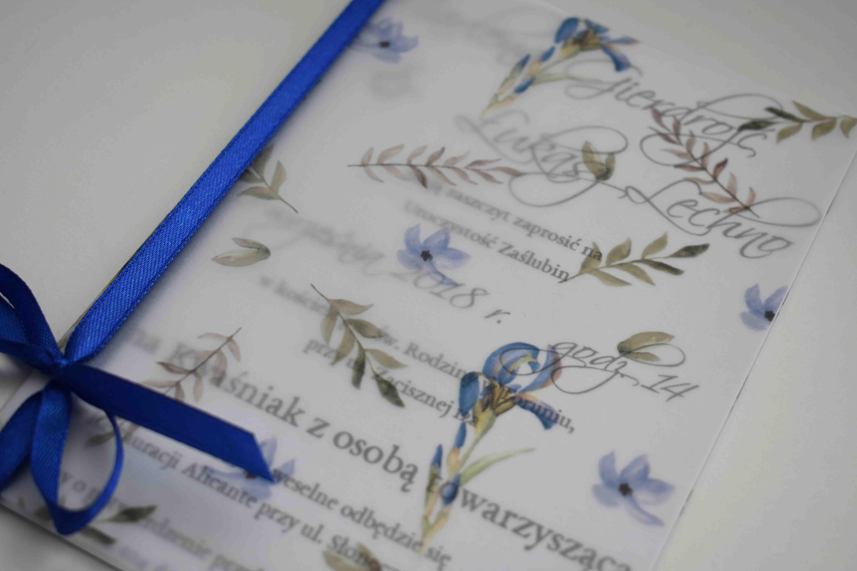 ślubne zaproszenie niebieskie kwiaty