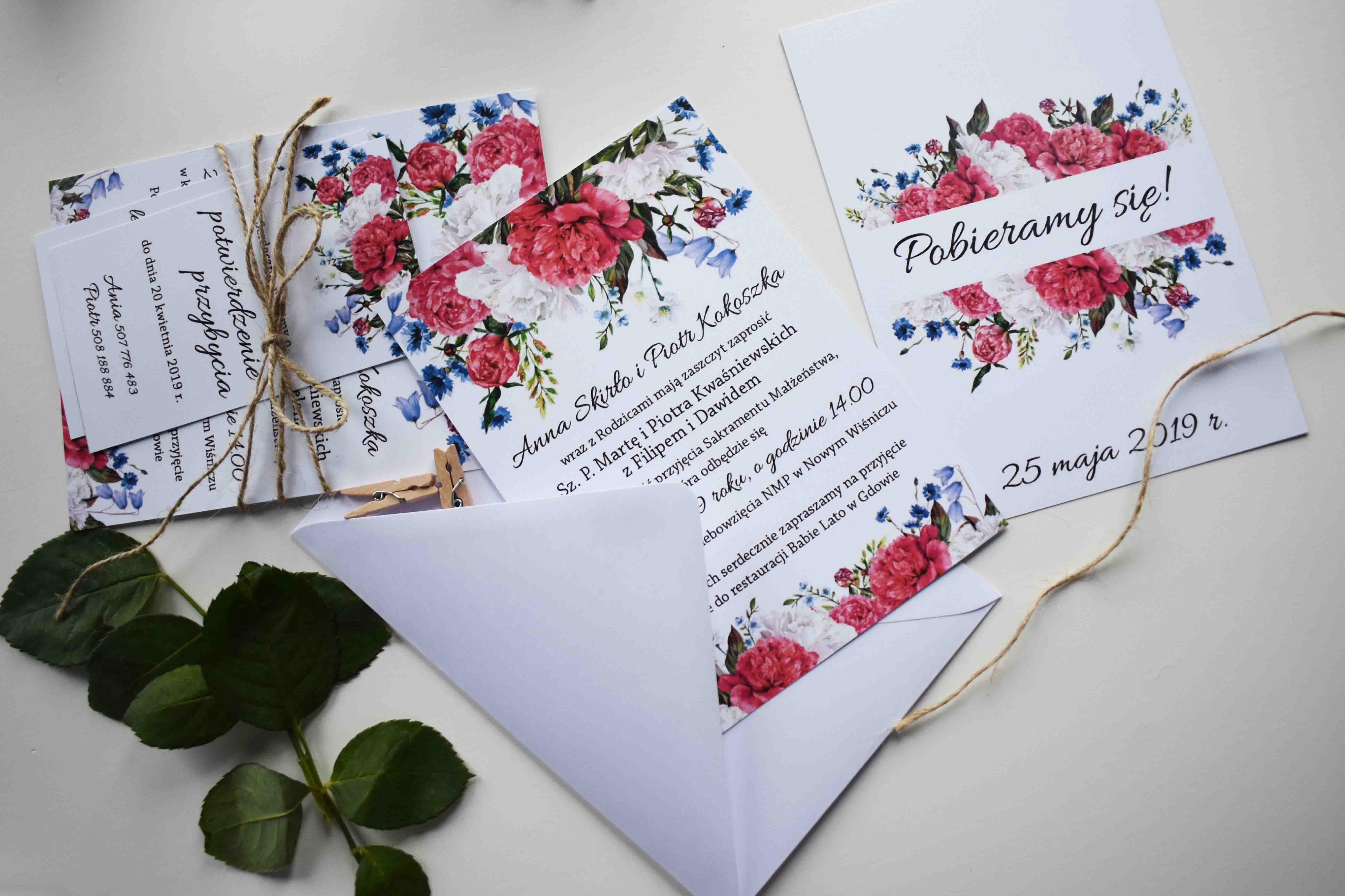zaproszenie i bileciki ślubne piwonie