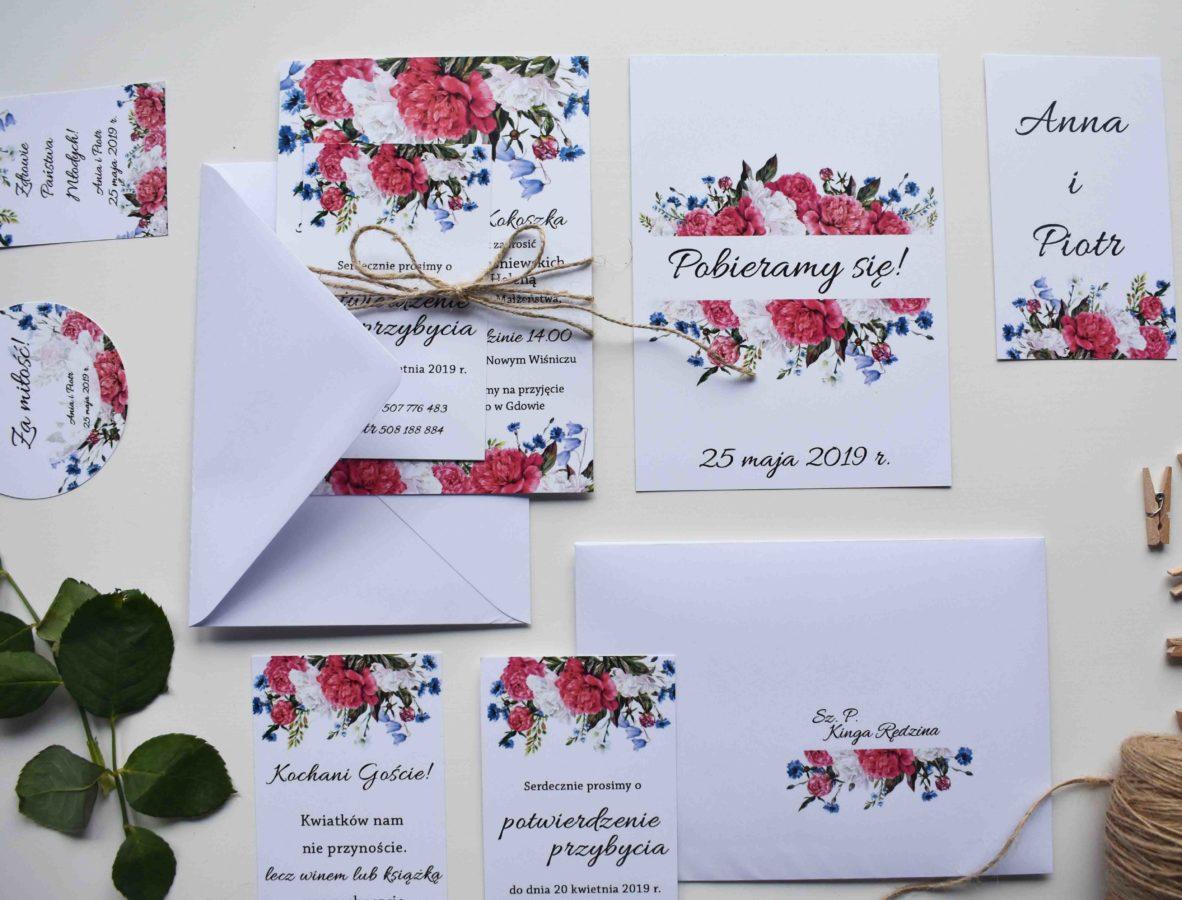 Zaproszenie ślubne i dodatki Piwonie i kwiaty polne