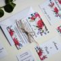 Zaproszenie ślubne Piwonie i kwiaty polne