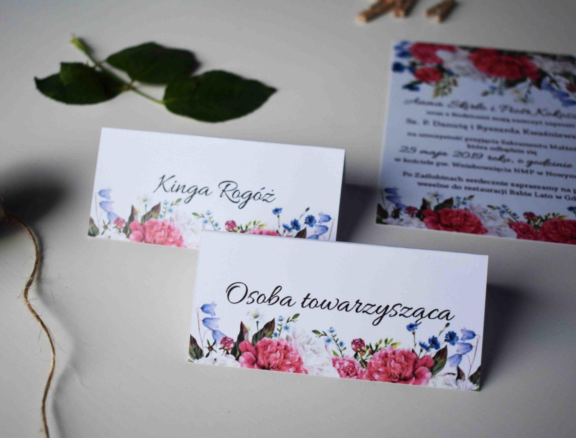 Winietki ślubne Piwonie i kwiaty polne