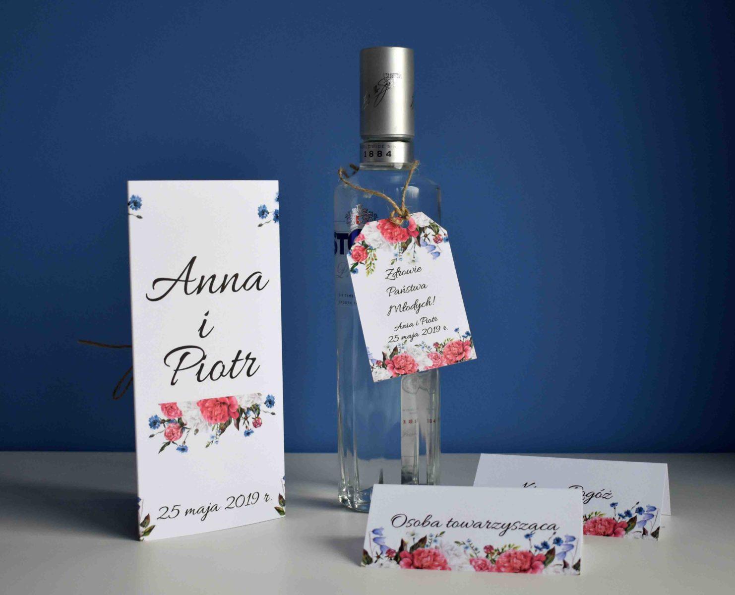 Zawieszka na alkohol piwonie i kwiaty polne