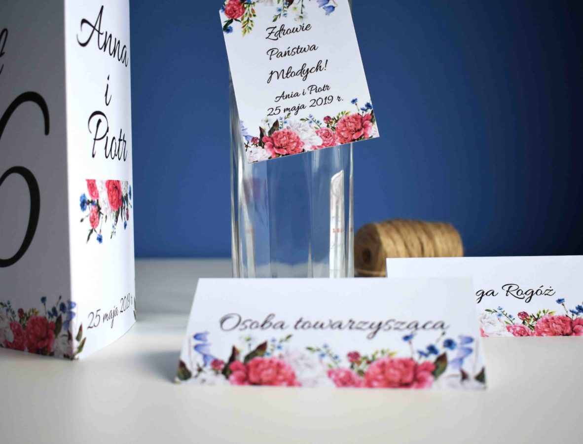 Dodatki ślubne Piwonie i polne kwiaty