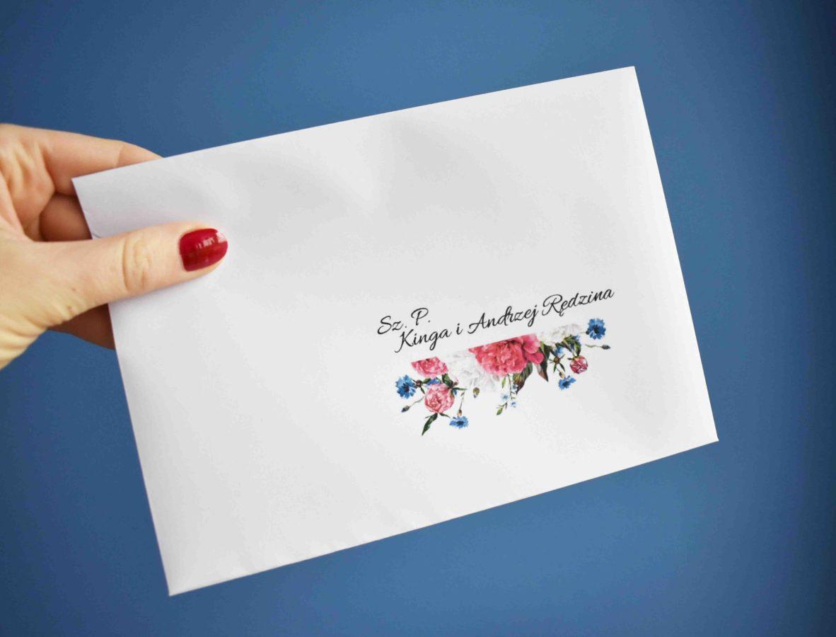 Personalizacja koperty ślubnej Piwonie i kwiaty polne