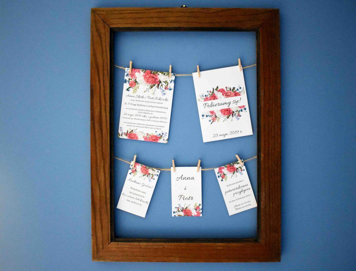 Zaproszenie ślubne w ramie Piwonie i kwiaty polne