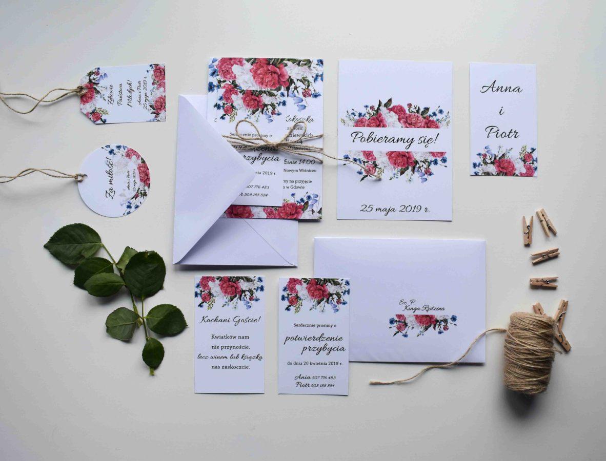 Kolekcja ślubna Piwonie i kwiaty polne