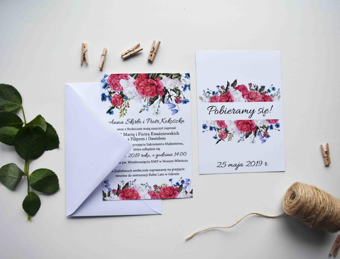 Zaproszenie z kolekcji Piwonie i kwiaty polne