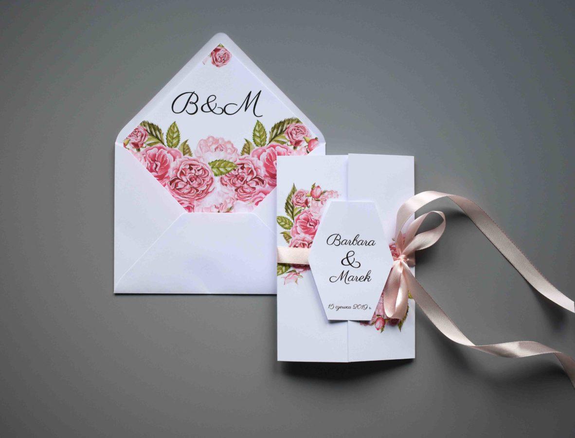 Zaproszenie otwierane Ślubne róże