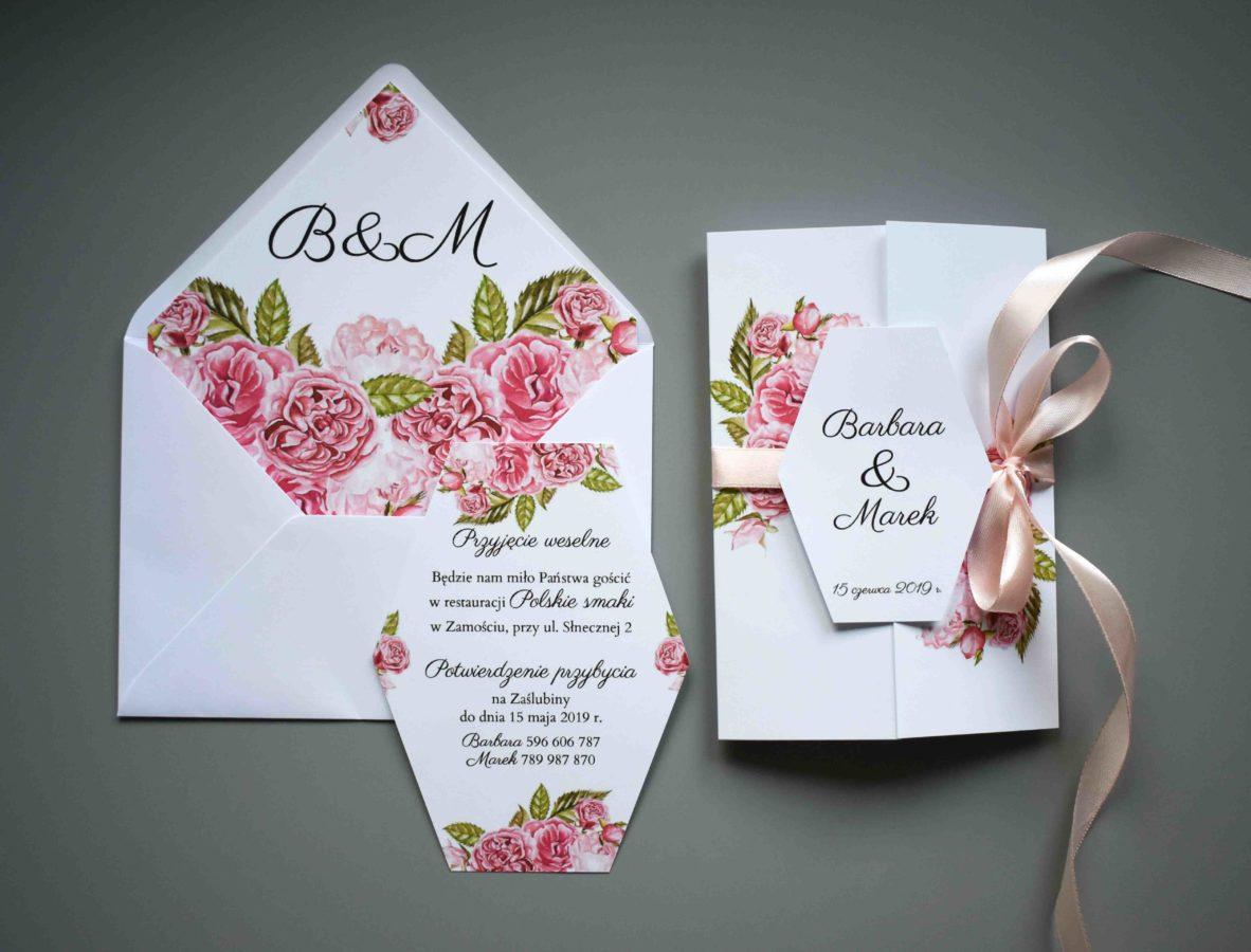 Wklejka do koperty Ślubne róże