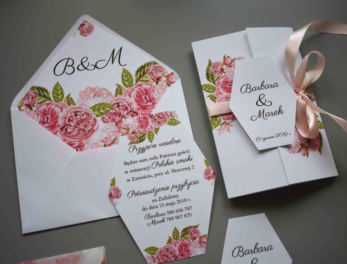 Zaproszenie z wkładką rsvp Ślubne róże