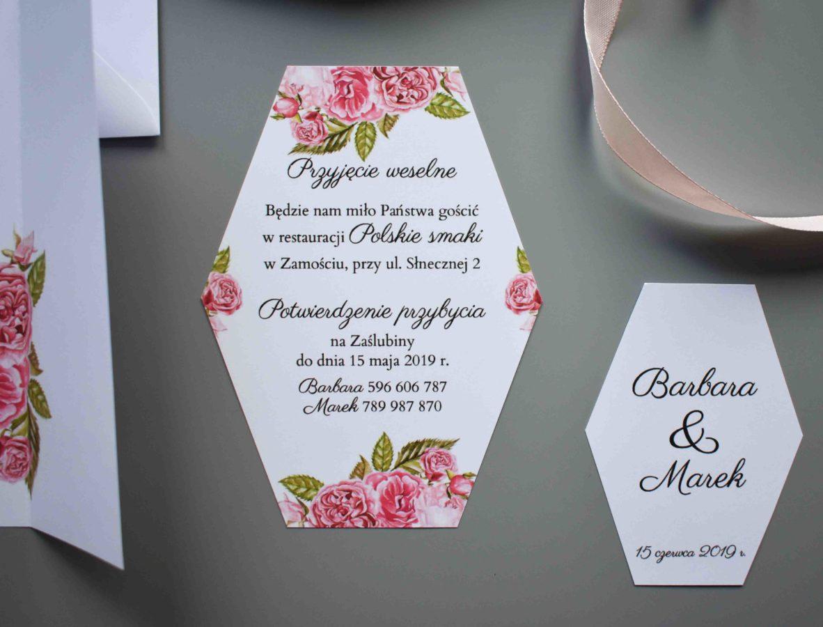 Bilecik do zaproszenia Ślubne róże