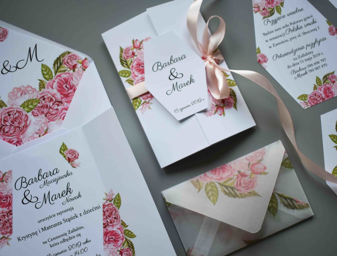Zaproszenie na ślub Ślubne róże