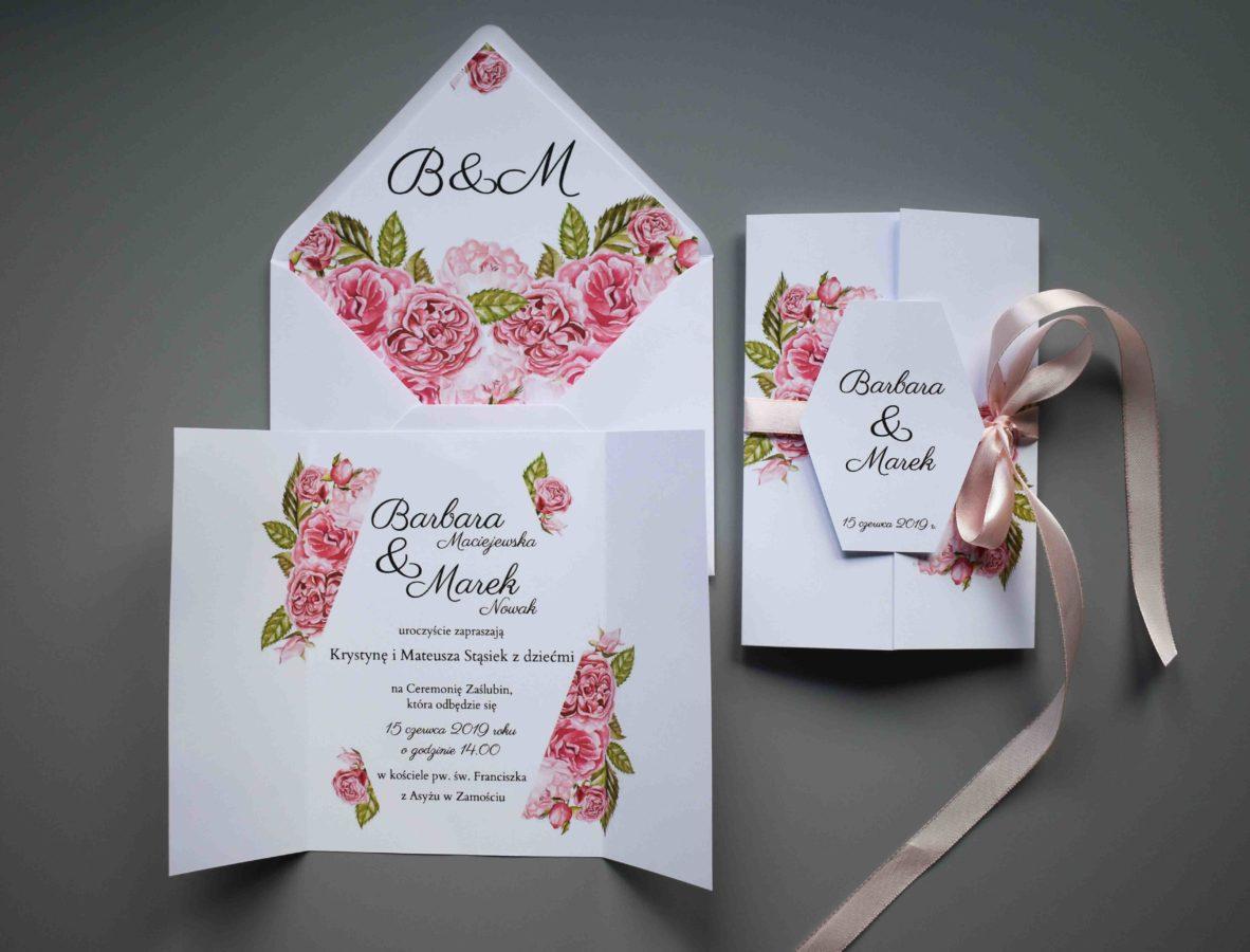 Zaproszenie na ślub róż
