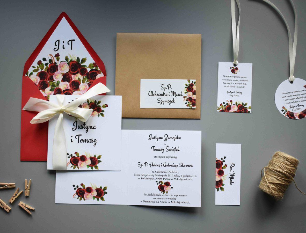Kolekcja ślubna Róże w bordo
