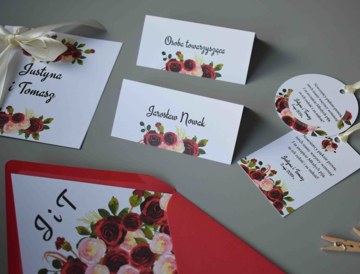 Winietki na stół Róże w bordo