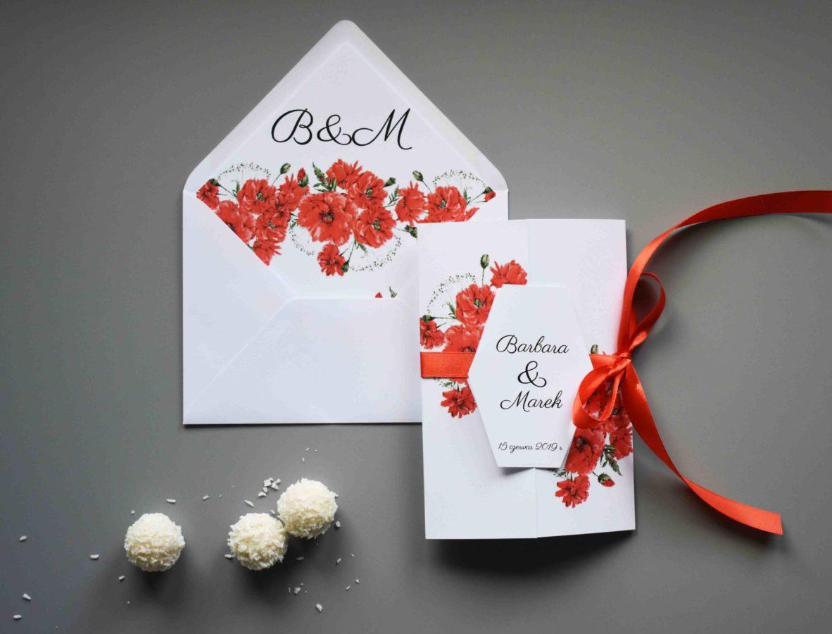 Zaproszenie na ślub Kolekcja Maki