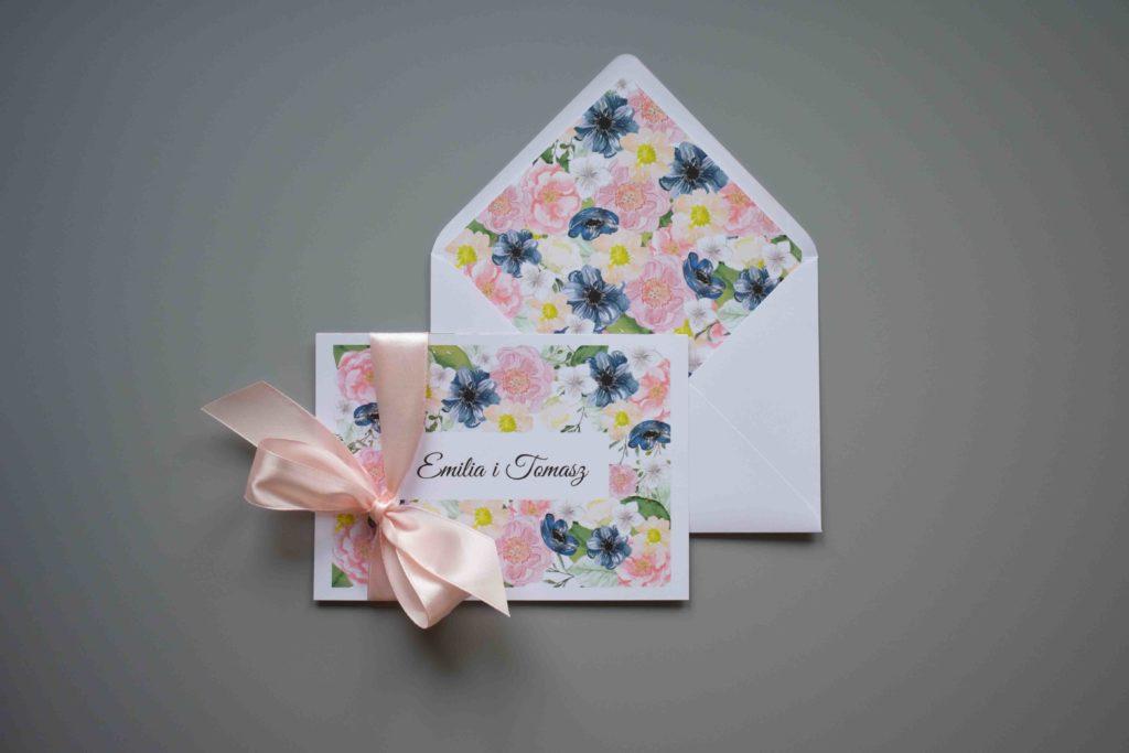 zaproszenie na ślub w kwiaty