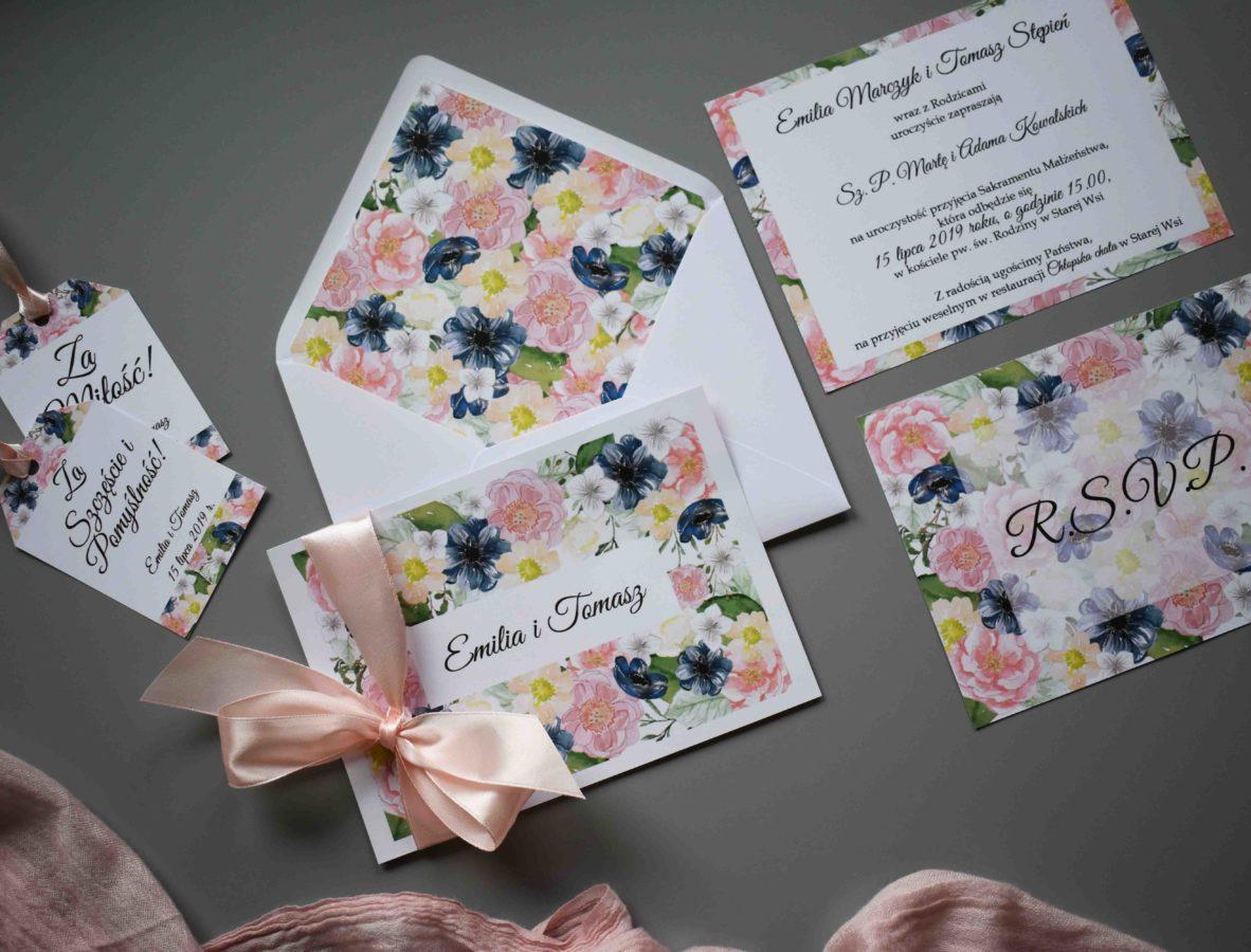 Zaproszenie i rsvp w kwiaty