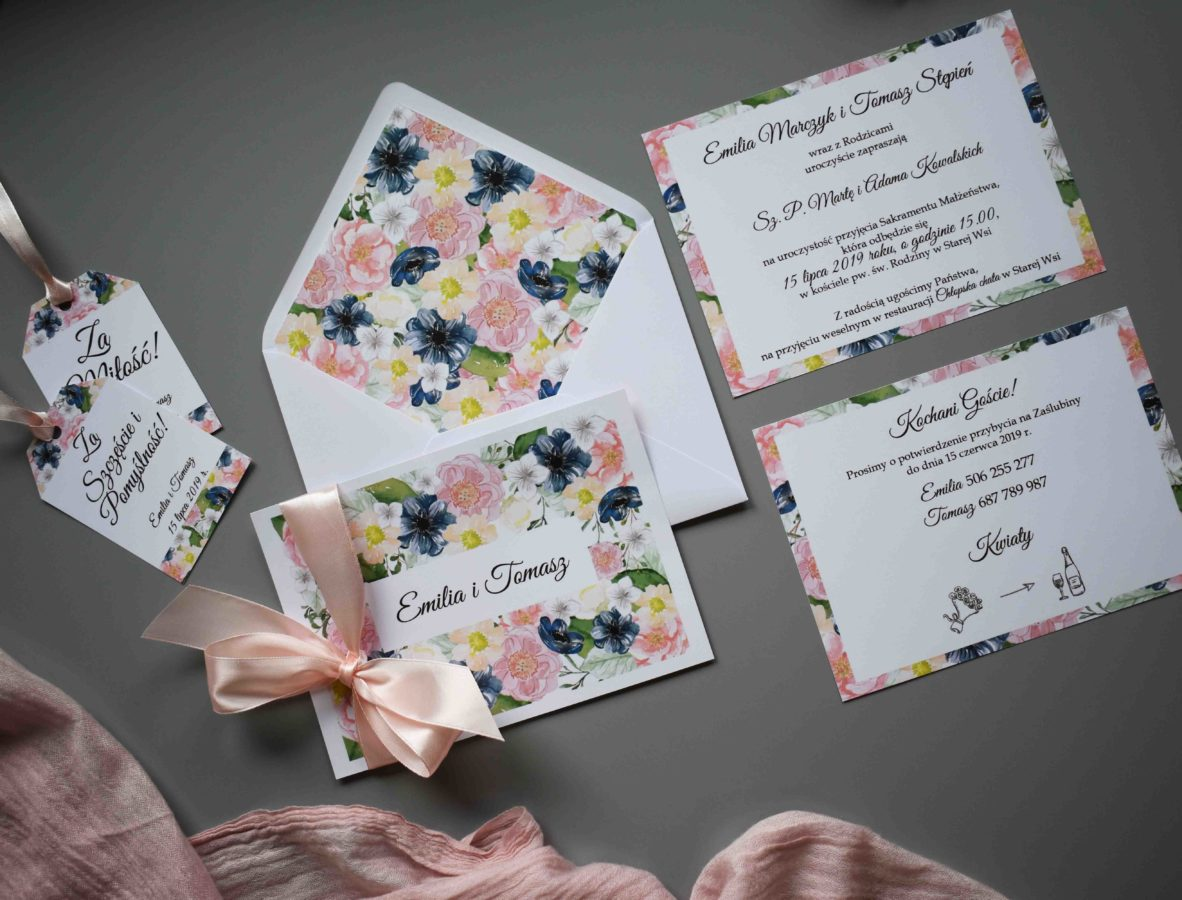 Zaproszenie ślubne w kwiaty