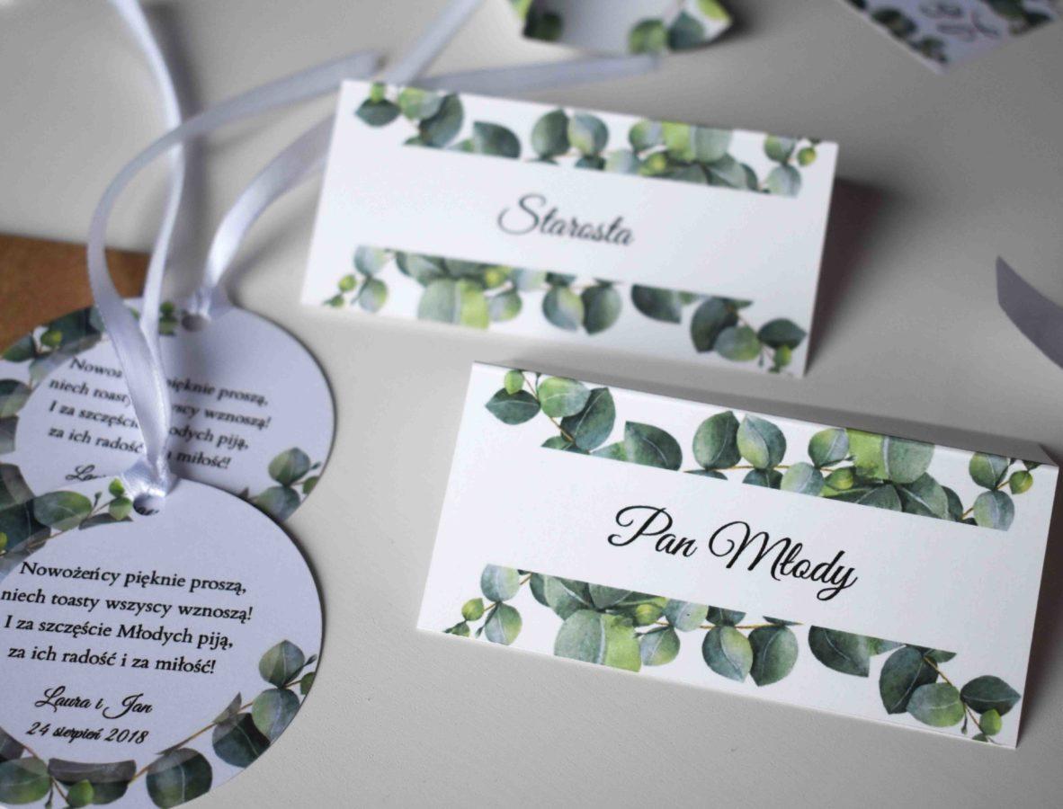 Winietki na stół weselny Eukaliptus