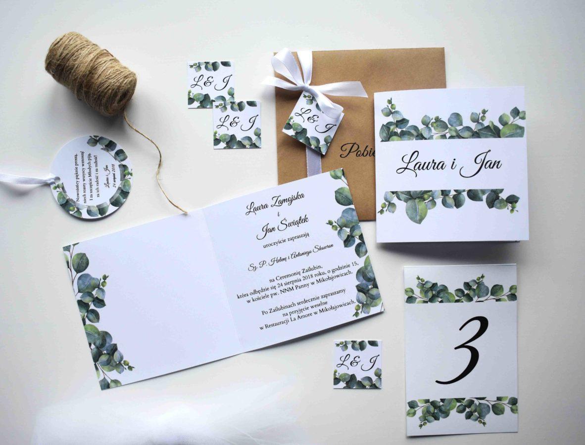 Zaproszenie otwierane na ślub eukaliptus