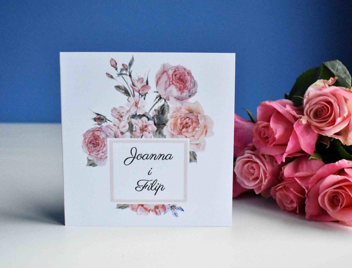 Zaproszenie ślubne W różanym duecie