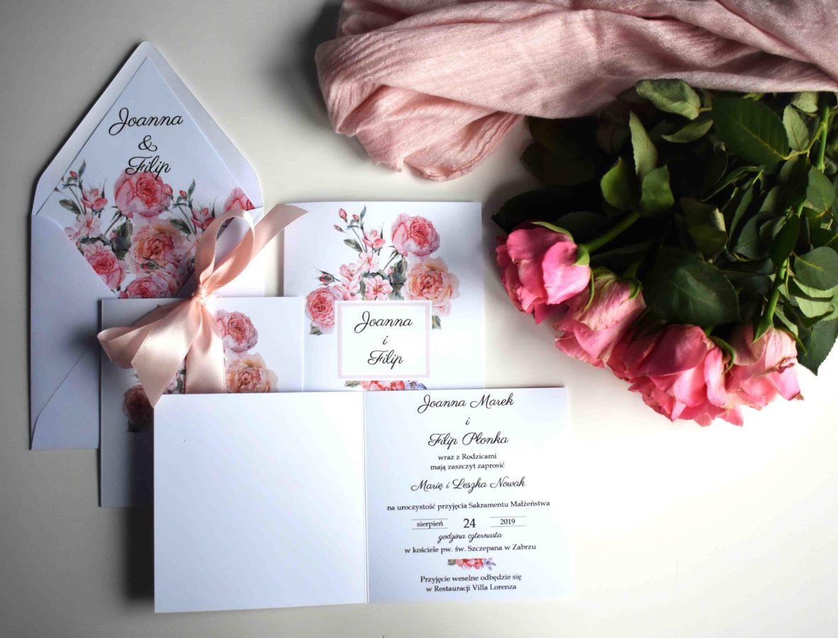 Zaproszenie otwierane W różanym dueci