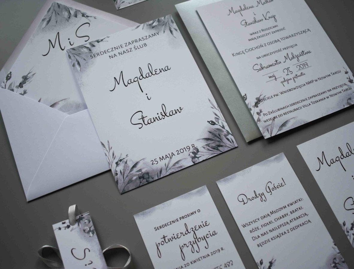 Zaproszenie ślubne jednokartkowe w odcieniach szarości