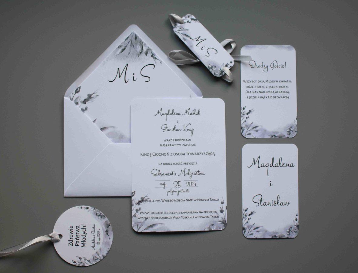 Zaproszenie ślubne zaokrąglone rogi