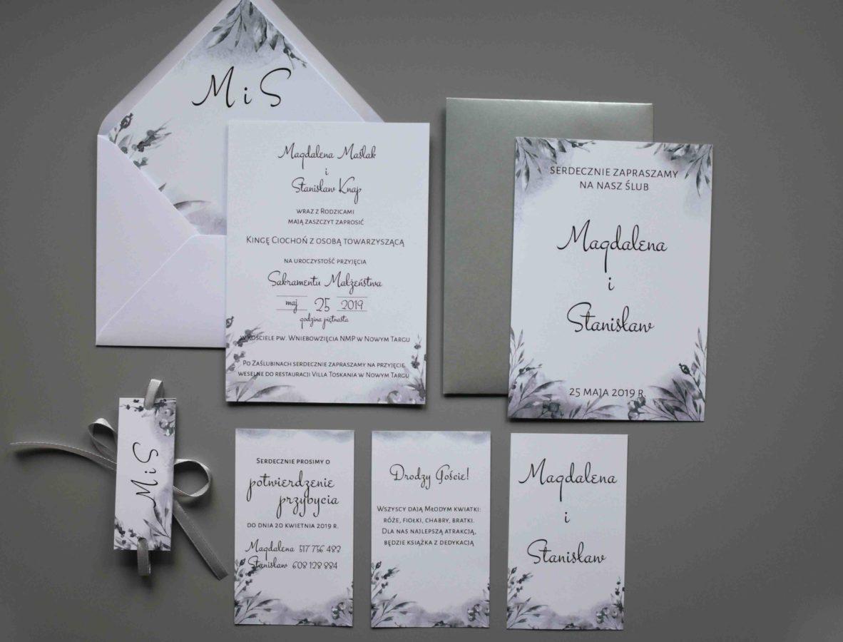 Zaproszenie na ślub w odcieniach szarości