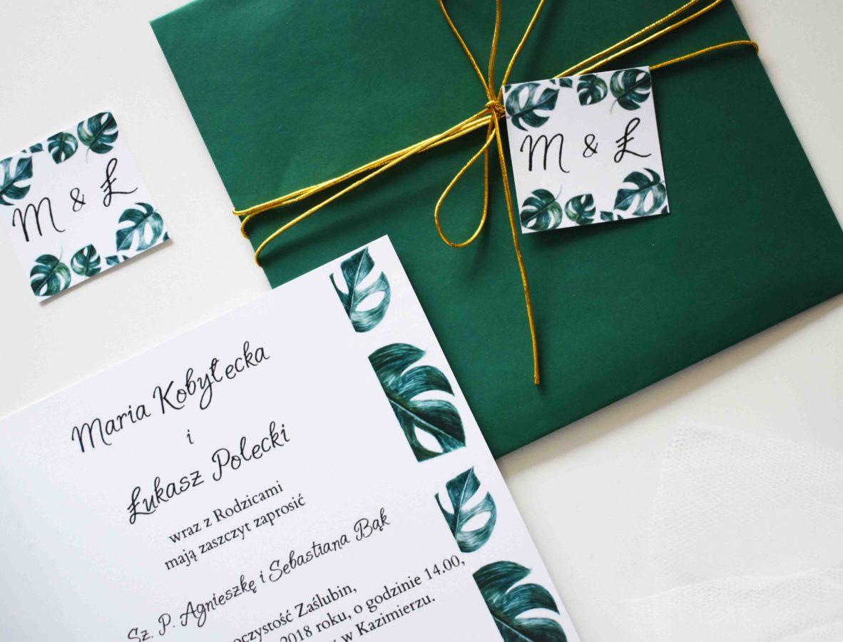 Zaproszenie ślubne z ozdobną kopertą