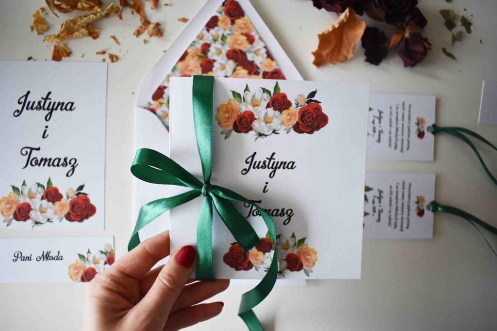 Różane zaproszenie ślubne