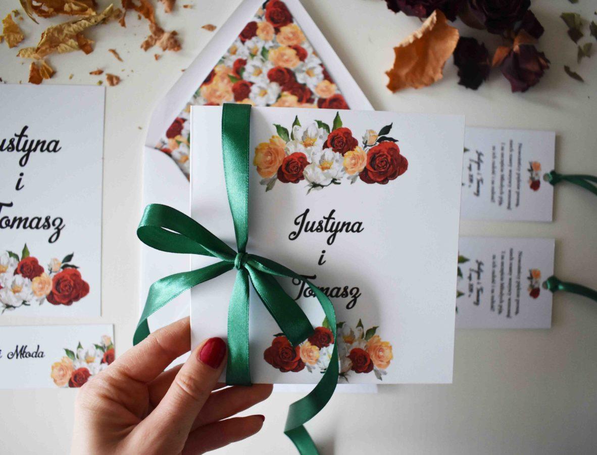 Zaproszenie ślubne z różami