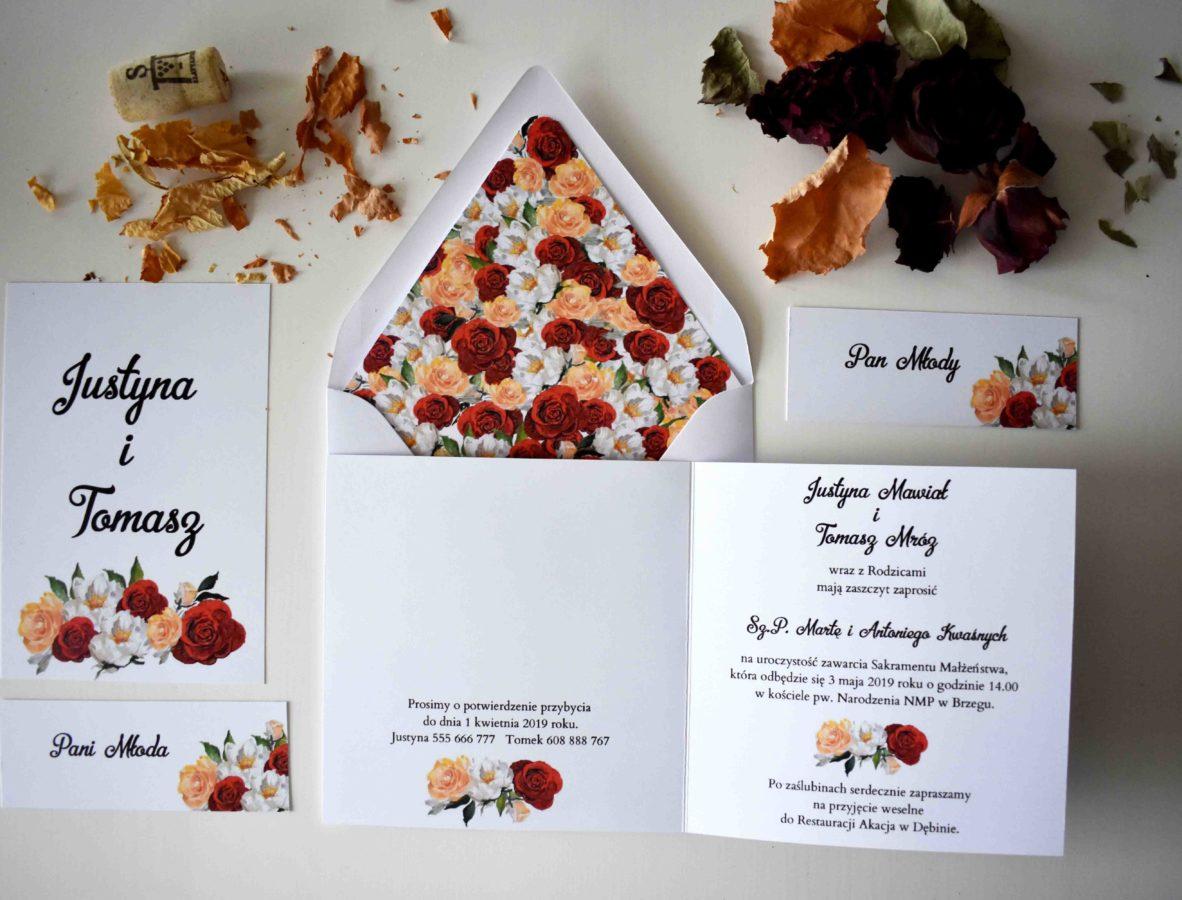 Zaproszenie ślubne w kwadracie