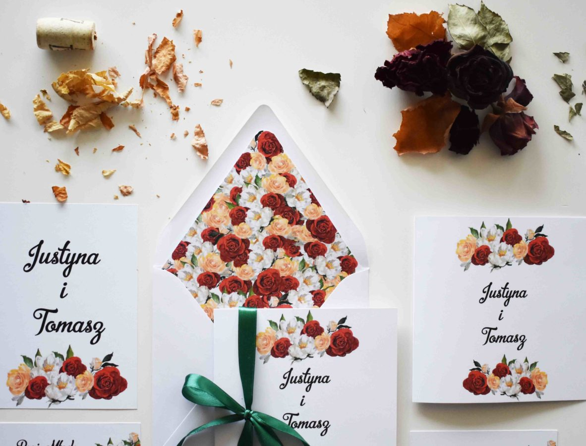 Różane zaproszenie na ślub