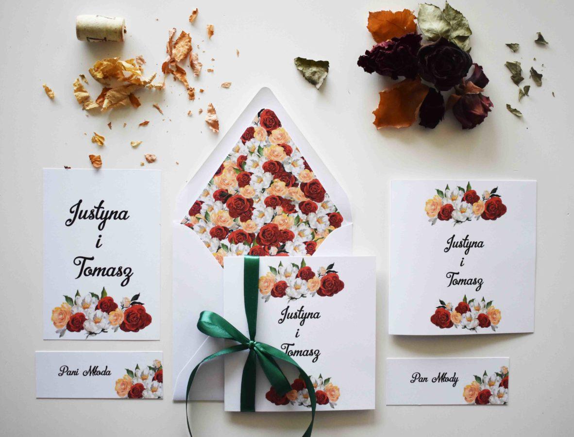 Zaproszenie ślubne z kolekcji Różane
