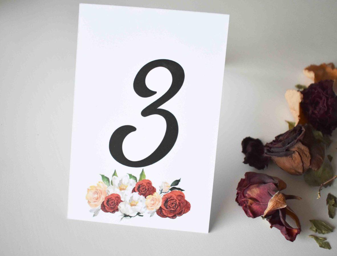 Numr stołu pionowy Różane