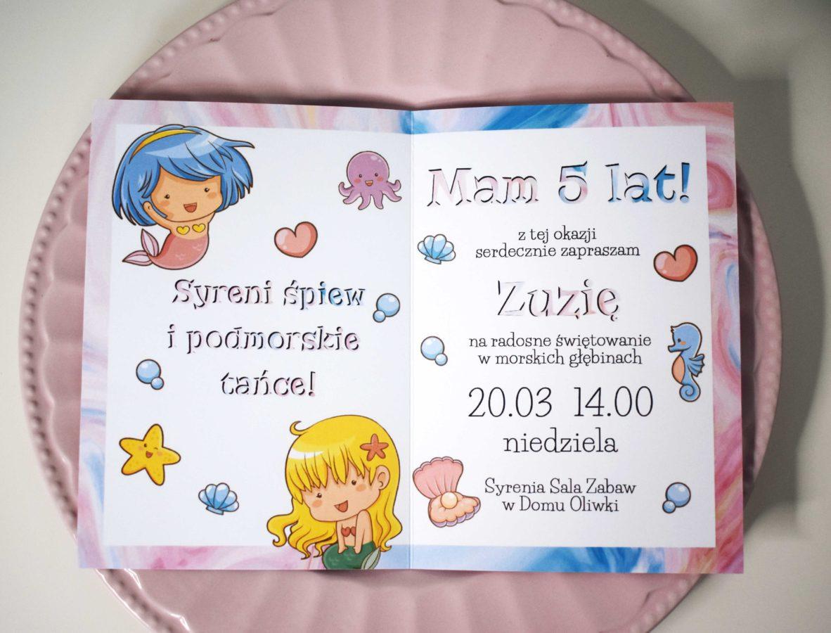 Tekst zaproszenia na urodziny Syrenki